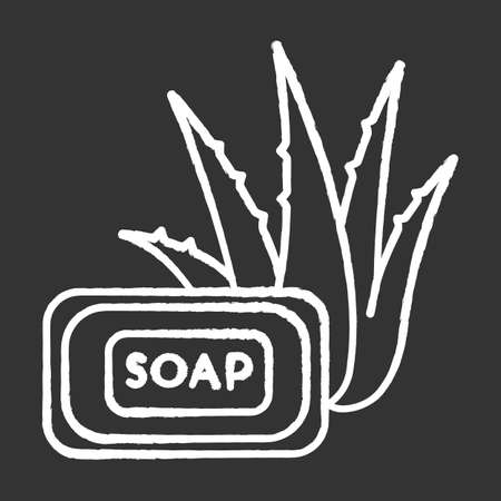 Aloe vera soap chalk white icon on black background. Organic bathing product. Natural cosmetic for personal hygiene. Plant based product. Cleansing treatment. Isolated vector chalkboard illustration