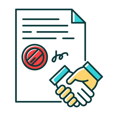 Zawarcie umowy kolor ikony RGB. Podpisany notarialnie dokument z pieczątką. Apostille i legalizacja. Umowa prawna. Umowa biznesowa. Współpraca. Usługi notarialne. Ilustracja wektorowa na białym tle