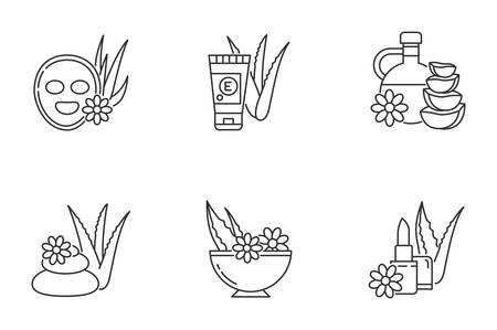 Aloe vera pixel perfect linear icons set. Cosmetology and dermatology. Spa treatment. Facial mask. Customizable thin line contour symbols. Isolated vector outline illustrations. Editable stroke Иллюстрация
