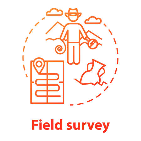 Field survey concept icon. Treasure hunting. Archeological expedition. Relic search. Start historical study. Vector isolated outline RGB color drawing