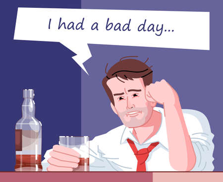 Alcohol addiction flat color vector illustration. I had a bad day. Psychological dependence of alcohol. Alcoholism habitual. Man drinking booze to relax and rest cartoon character Ilustração