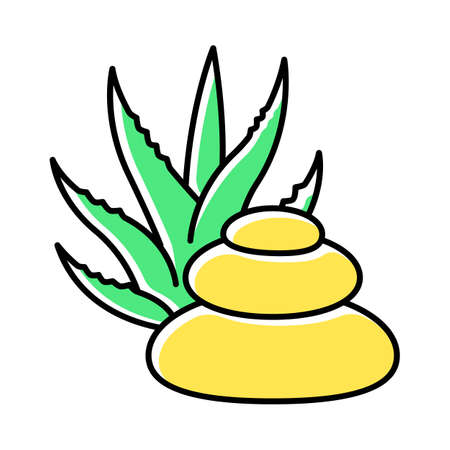 Spa treatment green color icon. Skincare with medicinal herbs. Cosmetology and dermatology. Organic plant based therapy. Beauty salon. Relaxation and wellbeing. Isolated vector illustration