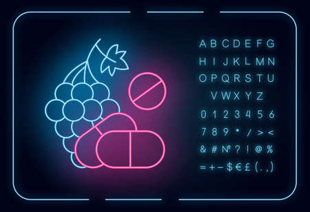 Vitamin intake neon light icon. Grape, organic food. Nutritious diet supplement. Pills, medication. Multivitamin complex. Glowing sign with alphabet, numbers and symbols. Vector isolated illustration