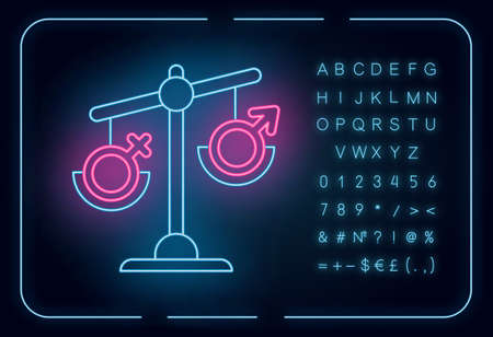 Hormone imbalance neon light icon. Female and male gender sign on scale. Disbalance in testosterone and estrogen. Glowing sign with alphabet, numbers and symbols. Vector isolated illustration