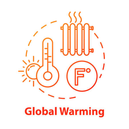 Global warming concept icon. Heat wave. High temperature. Industrial damage. Ozone hole and depletion. Climate change idea thin line illustration. Vector isolated outline RGB color drawing Ilustracja