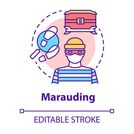 Marauding concept icon. Treasure hunting. Muggery, burglary. Search for treasure. Theft of valuable antiques idea thin line illustration. Vector isolated outline drawing. Editable stroke Çizim