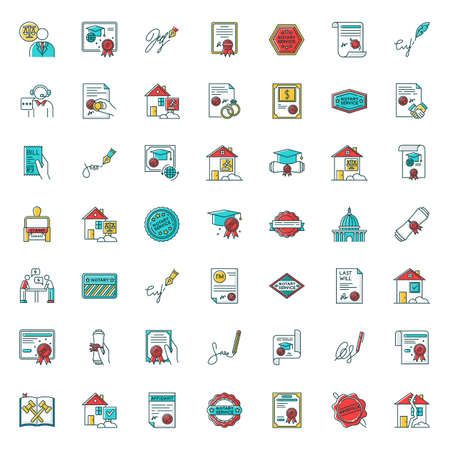 Notary services RGB color big icons set. Apostille and legalization. Notarized document. Certificate. Courthouse. Real estate litigation. License. Signature. Isolated vector illustrations