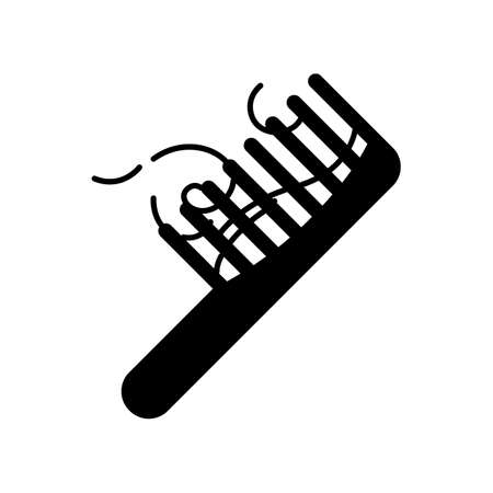 Hairbrush black glyph icon. ?omb with hair strands. Hairloss problem. Dermatology issue. Stress symptom. Alopecia and balding. Silhouette symbol on white space. Vector isolated illustration Illustration