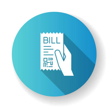 Bill of exchange blue flat design long shadow glyph icon. Printed cheque. Payment notice. Purchase confirmation, proof. Cashiers receipt, cash-memo. Shopping. Silhouette RGB color illustration