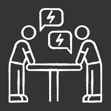 Negotiation chalk white icon on black background. Dialogue between parties. Argument. Opposing interests. Conflict. Dispute. Lawsuit. Rivals, adversaries. Isolated vector chalkboard illustration