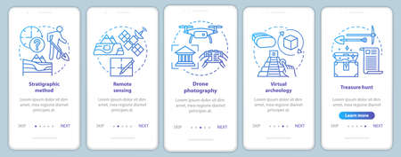 Archeology methods onboarding mobile app page screen vector template. Study of terrain, treasure hunt. Walkthrough website steps with linear illustrations. UX, UI, GUI smartphone interface concept Vecteurs