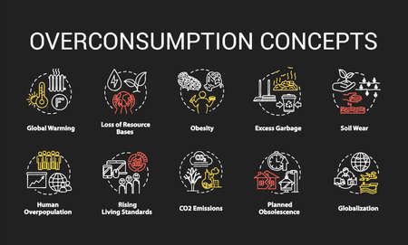 Overconsumption chalk RGB color concept icons set. Global warming. Ecological and environmental damage. Consumerism idea. Vector isolated chalkboard illustrations on black background