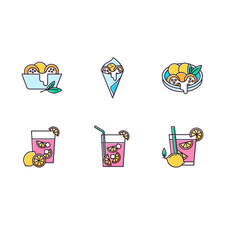 Brazilian cuisine blue RGB color icons set. Arancini. Cheese bread. Caipirinha. Alcoholic beverage with lime. Traditional food and cocktail. Isolated vector illustrations