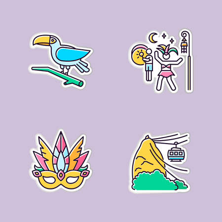 Brazilian carnival printable patches. Traditional masquerade. RGB color stickers, pins and badges set. Street party. Masquerade mask. Toucan. Ropeway. National festival. Vector isolated illustrations