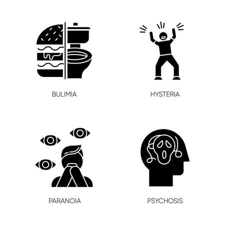 Mental disorder glyph icons set. Bulimia. Eating disorder. Hysteria. Panic attack. Anxiety, depression. Paranoia. Fear and phobia. Psychosis. Silhouette symbols. Vector isolated illustration