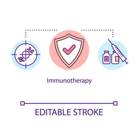Immunotherapy concept icon. Cancer treatment idea thin line illustration. Oncology therapy. Cancer vaccine. Medical help. Vector isolated outline RGB color drawing. Editable stroke Illustration