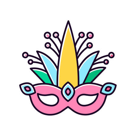 Masquerade mask pink RGB color icon. Traditional headwear with plant leaves. Ethnic festival. National holiday parade. Isolated vector illustration Ilustracja