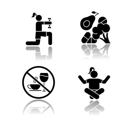 Healthcare drop shadow black glyph icons set. Physical exercise. Vitamin intake, vegetables. Alcohol and caffeine refusal. Meditation, yoga practice. Fitness and workout. Isolated vector illustrations