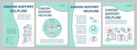 Cancer Support Helpline brochure template. Call center. Oncology help. Flyer, booklet, leaflet print, cover design with linear icons. Vector layouts for magazines, annual reports, advertising posters Illustration