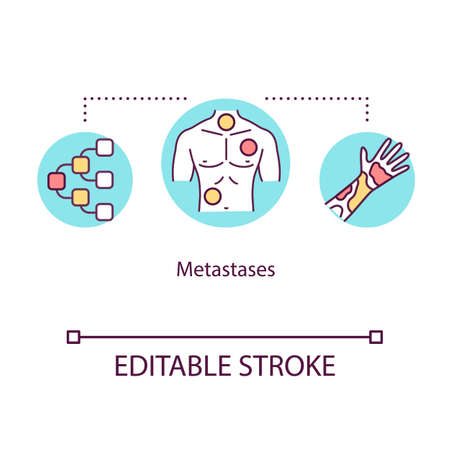 Metastases concept icon. Oncology idea thin line illustration. Malignant neoplasm. Tumor spread. Cancer cells dissemination. Vector isolated outline RGB color drawing. Editable stroke