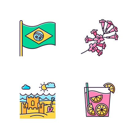 Brazil pink RGB color icons set. National flag. Plumeria. Caipirinha. Sand castle on the coast. Ip? tree. Traditional cocktail. Ocean beach. Isolated vector illustrations