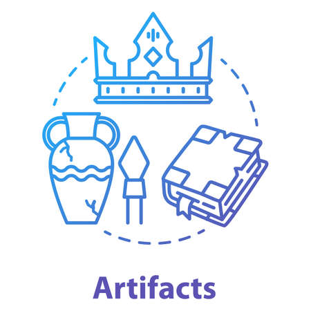 Artifacts concept icon. Ancient treasures. Museum exhibits. Archaeological old civilization evidences. Historical research. Vector isolated outline RGB color drawing