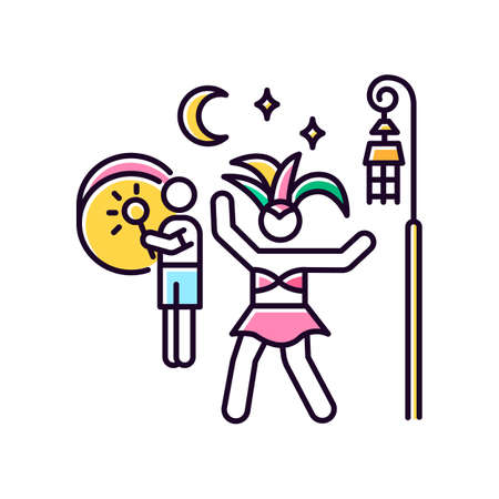 Samba pink RGB color icon. Street party. Brazilian carnival in night. Dancing lady in national costume. Ethnic festival. Man playing music on drum. Traditional music. Isolated vector illustration