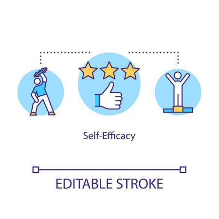Self efficacy concept icon. Mental health idea thin line illustration. Personal progress. Goal achievements. First place. Vector isolated outline RGB color drawing. Editable stroke