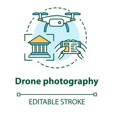 Drone photography concept icon. Quad copter with camera spying on house. Shooting historical objects from unusual angle idea thin line illustration. Vector isolated outline drawing. Editable stroke
