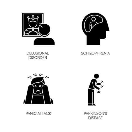 Mental disorder glyph icons set. Delusional person. Schizophrenia. Panic attack. Parkinson disease. Megalomania. Dementia. Tremor in movement. Silhouette symbols. Vector isolated illustration 일러스트