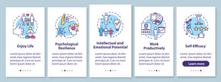Mental health onboarding mobile app page screen with concepts. Psychological wellness walkthrough five steps graphic instructions. Work productively. UI vector template with RGB color illustrations Illustration