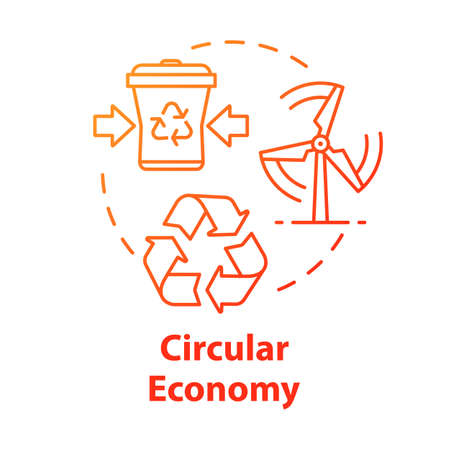 Circular economy concept icon. Infinite industrial loop. Sustainability and recycling. No waste production. Market development idea thin line illustration. Vector isolated outline RGB color drawing