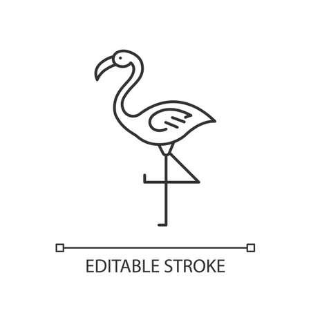 Flamingo pixel perfect linear icon. Exotic wild bird. Tropical creature. Wildlife. South american habitat. Thin line customizable illustration. Contour symbol. Vector isolated drawing. Editable stroke