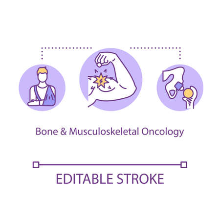 Bone and musculoskeletal oncology concept icon. Cancer treatment idea thin line illustration. Illness recognition. Tumor research. Vector isolated outline RGB color drawing. Editable stroke Illustration
