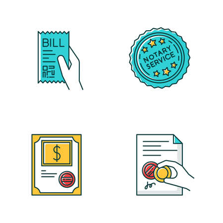 Notary services RGB color icons set. Apostille and legalization. Notarized document. Stock certificate. Bill, receipt. Purchase confirmation. Stamp. Validation. Isolated vector illustrations