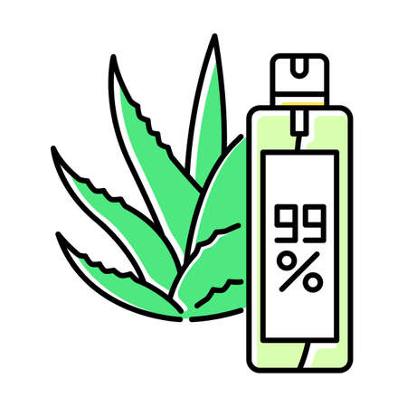 Aerosol green color icon. Aloe vera emergency spray. Plant based hairspray. Natural cosmetic in bottle. Medicinal herbs extract for healing and moisturizing. Isolated vector illustration
