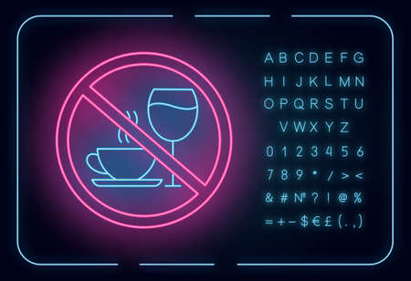 Caffeine and alcohol refusal neon light icon. Deny wine and coffee. No unhealthy habits. Stop sign with beverages. Glowing sign with alphabet, numbers and symbols. Vector isolated illustration