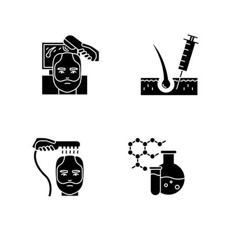 Hair loss black glyph icons set on white space. Laser therapy for men's thinning hair. Medical injection for alopecia. Male hair loss treatment. Silhouette symbols. Vector isolated illustration Иллюстрация
