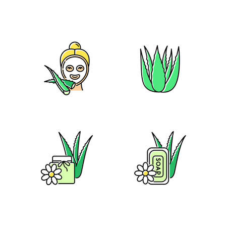 Aloe vera green color icons set. Female facial mask. Spa treatment. Medicinal plant sprouts. Bathing products. Plant based wax. Dermatology and cosmetic. Isolated vector illustrations