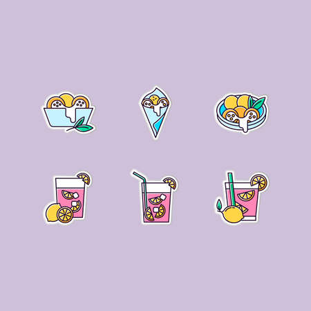 Brazilian cuisine printable patches. Arancini. RGB color stickers, pins and badges set. ?heese bread. Alcoholic beverage with lime. Traditional food and cocktail. Vector isolated illustrations