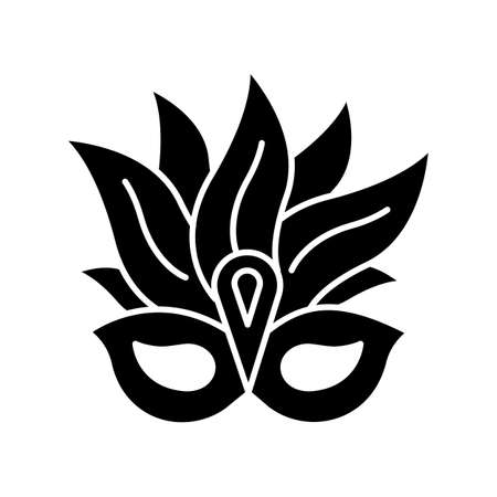 Masquerade mask black glyph icon. Traditional headwear with plumage. Brazil ethnic festival. National holiday parade. Silhouette symbol on white space. Vector isolated illustration