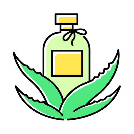 Organic lotion green color icon. Natural cream with aloe vera extract. Plant based cosmetic products. Skincare and dermatology. Facial serum with medicinal herbs. Isolated vector illustration