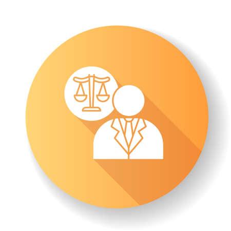 Lawyer orange flat design long shadow glyph icon. Attorney. Advocate. Legal representative. Courthouse. Legislature, law enforcement. Justice. Legal assistance. Silhouette RGB color illustration
