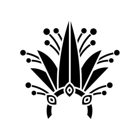 Brazilian carnival headwear black glyph icon. Crown with plant leaves and jewels. Traditional wear. Ethnic festival. National holiday. Silhouette symbol on white space. Vector isolated illustration Ilustracja