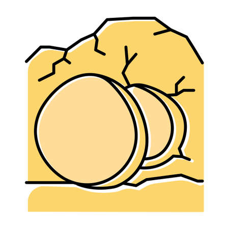 Open coffin yellow color icon. Cave with large stone at entrance. Resurrection day. Jesus Christ is risen. Easter Sunday. Bible narrative. Gospel story. Isolated vector illustration