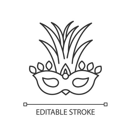 Masquerade mask pixel perfect linear icon. Traditional headwear with palm leaves. Thin line customizable illustration. Contour symbol. Vector isolated outline drawing. Editable stroke