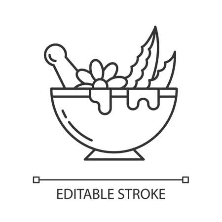 Mortar with pestle pixel perfect linear icon. Graining leaves for liquid. Aloe vera sprouts. Thin line customizable illustration. Contour symbol. Vector isolated outline drawing. Editable stroke