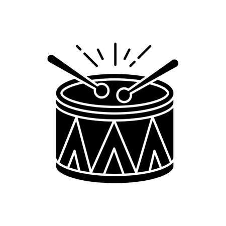 Drum black glyph icon. Musical instrument. Brazilian carnival. Festive drum parade. Samba. Musical movement. National holiday. Silhouette symbol on white space. Vector isolated illustration