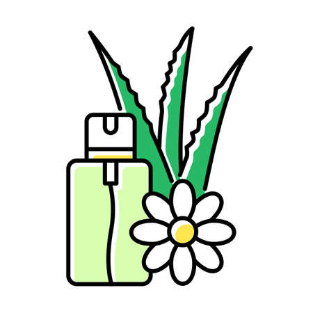 Aloe vera emergency spray green color icon. Vegan cosmetic in aerosol. Natural floral essence. Plant based serum and oil. Medical liquid with herbs in bottle. Isolated vector illustration
