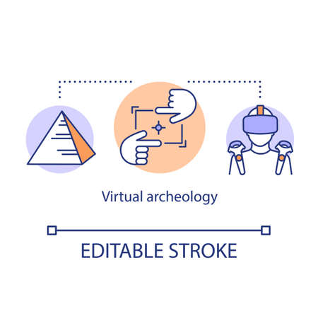 Virtual archeology concept icon. Computer modeling, visualization of historic monuments. Virtual travel ancient monuments idea thin line illustration. Vector isolated outline drawing. Editable stroke